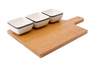 Loft 3 x Dip Dishes & Wooden Board Set
