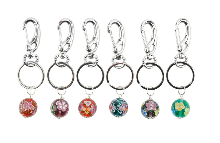 Glass Ball Keyrings with a Flower Design