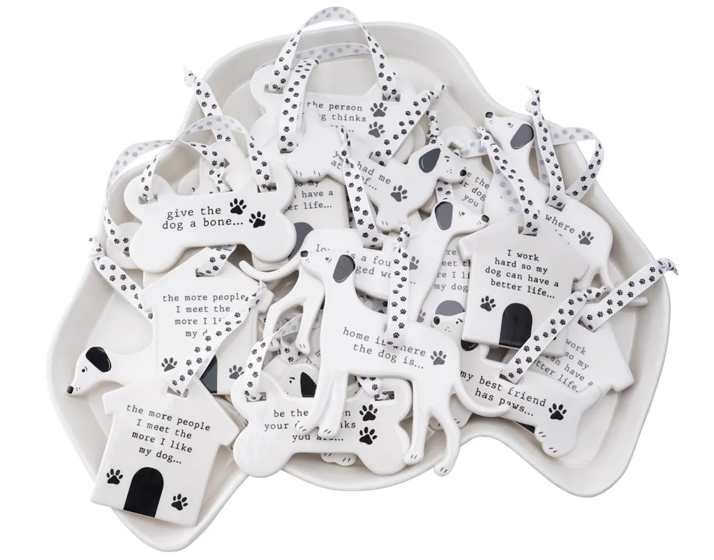 Woofs & Whiskers Ceramic Dog Hangers