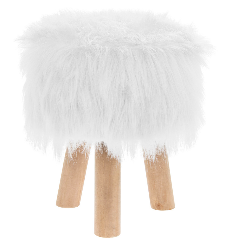WHITE FURRY STOOL ROUND