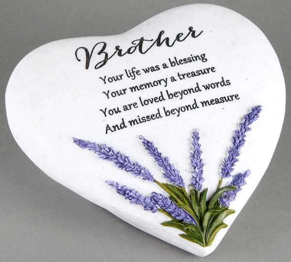 Thoughts Of You Lavender Stone Heart Brother 16cm