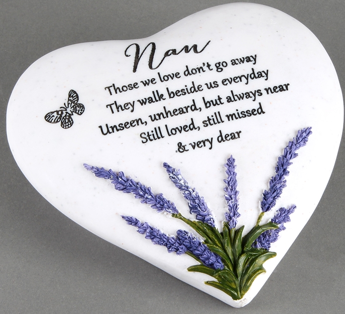 Thoughts Of You Lavender Stone Heart Nan 16cm