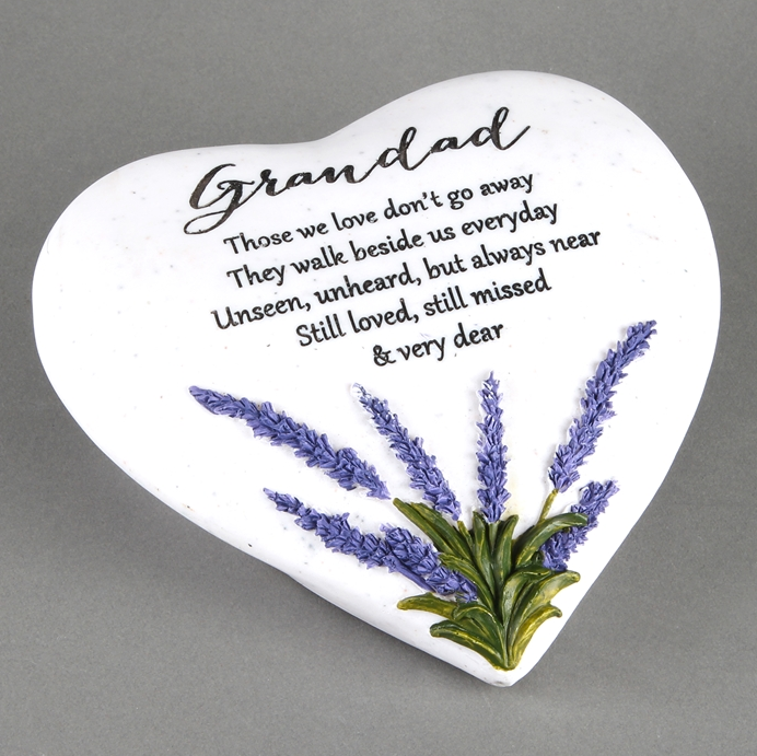 Thoughts Of You Lavender Stone Heart Grandad 16cm