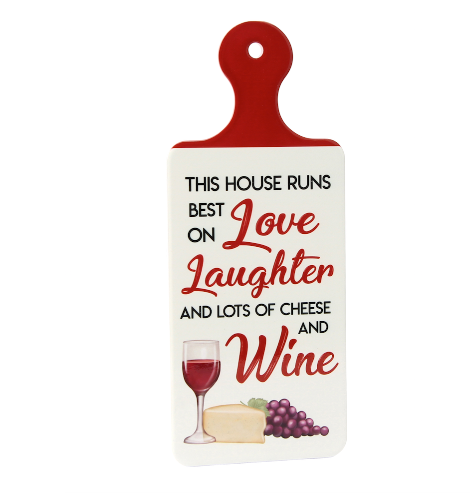 Porcelain - 'House Runs On Love, Laughter' Wine Kitchen Sign - Culzean Gifts