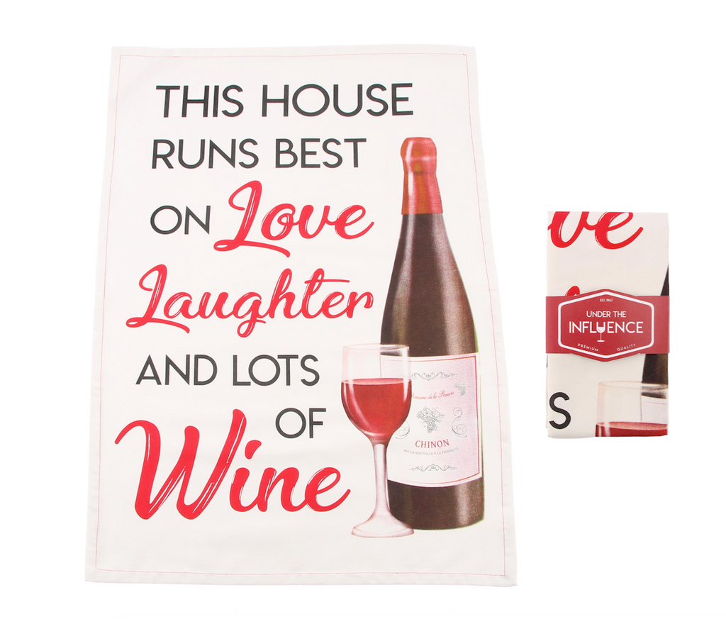 This House Runs Best On Love Wine Tea Towel - Culzean Gifts