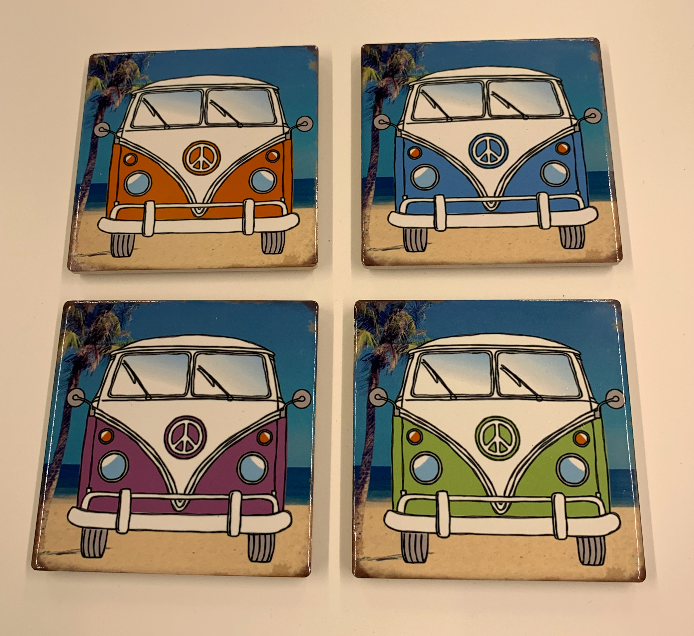 Set Of 4 Campervan Coasters 10cm - Culzean Gifts