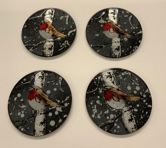 Christmas Winter Robin Set of 4 Glass Coasters - Culzean Gifts