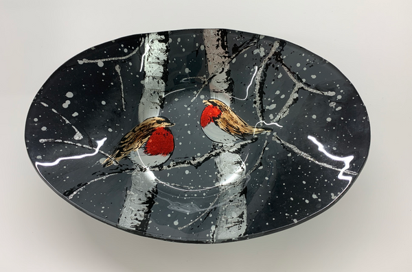 Christmas Winter Robin Large Oval Glass Bowl - Culzean Gifts