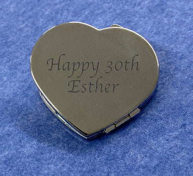 Engraved Personalised Silver Plated Double Sided Heart Mirror - Culzean Gifts