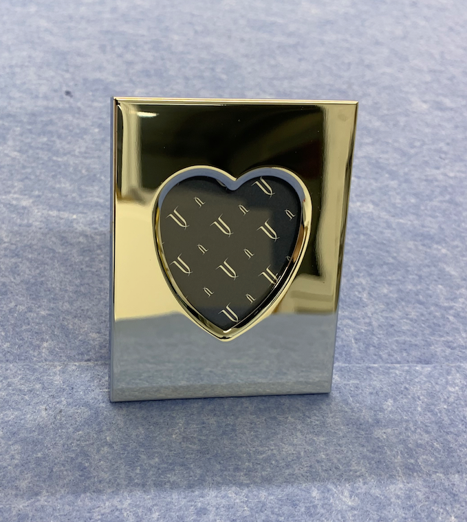 Chrome Plated Picture Frame with Heart Window - Available Personalised Engraved