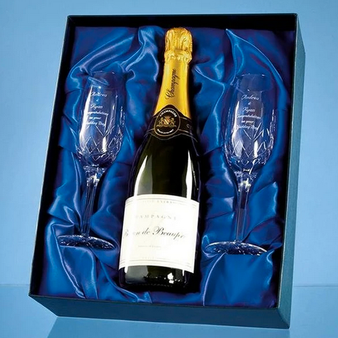 2 Diamante Champagne Flutes with Elegance Spiral Cutting in a Satin Lined Gift Box - Personalised Engraved - Culzean Gifts