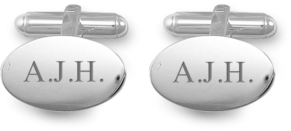 Engraved Personalised Oval Silver Plated Cufflinks
