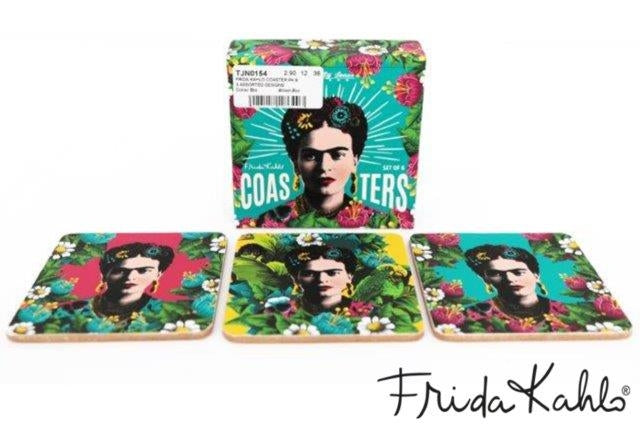 Set Of 6 Wooden Frida Kahlo Self Portrait Coasters