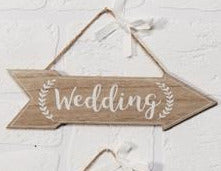 Set Of 3 MDF Arrow Plaques With Wedding, Reception And Dance Floor Text - Culzean Gifts