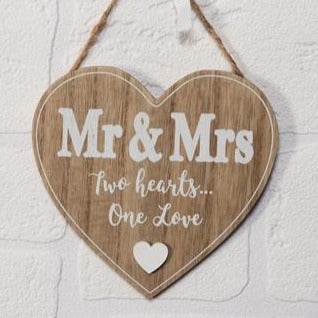 A Hanging MDF Heart Plaque With Mr And Mrs Two Hearts One Love Text 13.5cm x 14cm x.5cm - Culzean Gifts