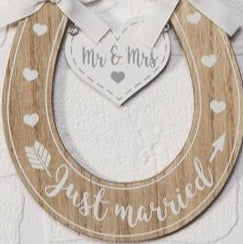 Just Married Horseshoe Plaque 13cm - Culzean Gifts
