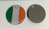 Engraved 25mm nickel plated flag design pet tags. Irish flag
