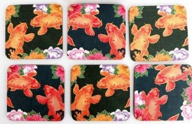 Set Of 6 Wooden Koi Fish Design Coasters