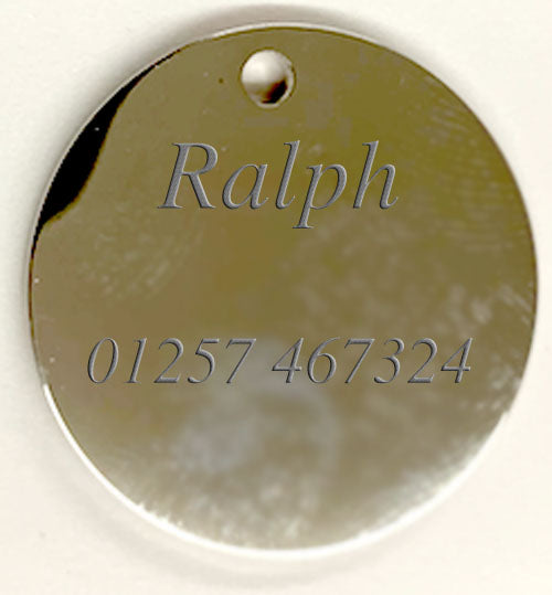 Engraved 25mm nickel plated flag design pet tags.