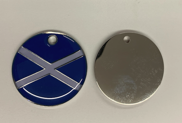 Engraved 25mm nickel plated flag design pet tags. Scottish Saltire