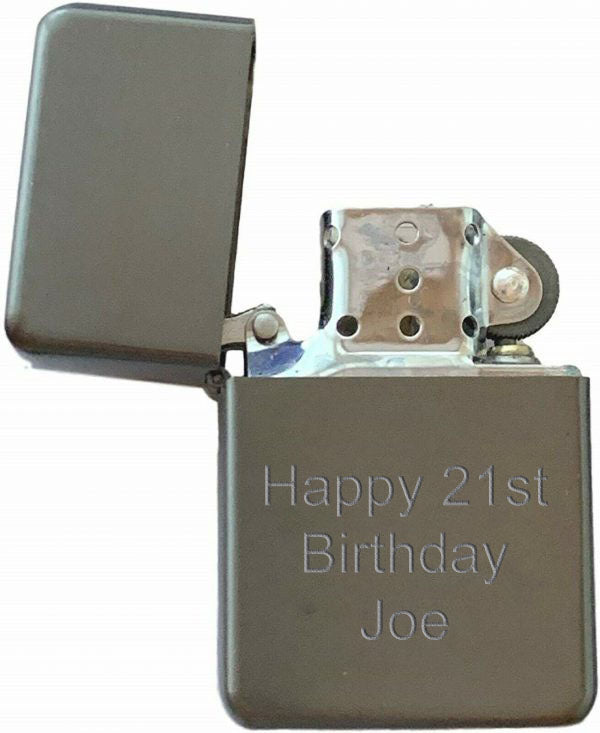Star Flip Top Lighter - Gun Metal - Available Engraved Personalised - Culzean Gifts