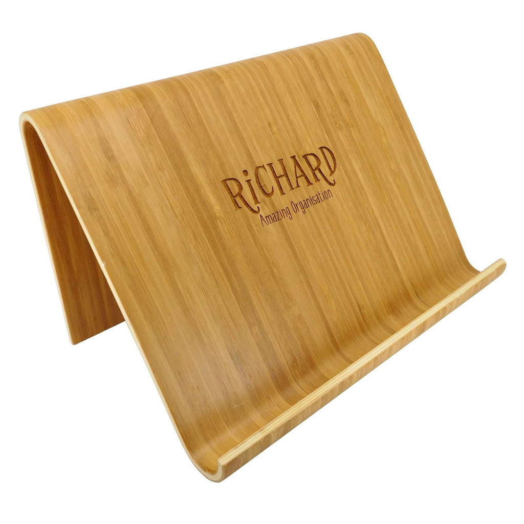 Engraved Personalised Engraved Contemporary Bamboo iPad Stand / Tablet Stand / Cookery Book Stand - Culzean Gifts