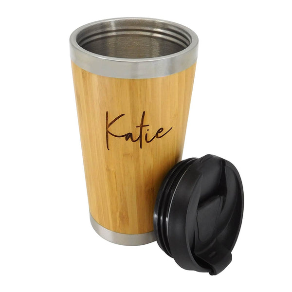Engraved Personalised Deluxe Bamboo Encased Coffee Cup - Culzean Gifts