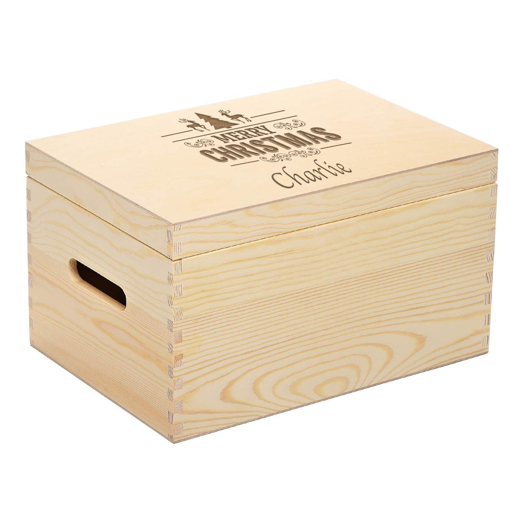 Engraved Personalised 26 x 28 x 15 cm Deluxe Wooden Pine Christmas Eve Box with Lift off Lid - Culzean Gifts