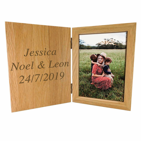 "Personalised Deluxe Solid Oak Book Shape Oak Photo Frame 7"" x 5"" - Culzean Gifts"