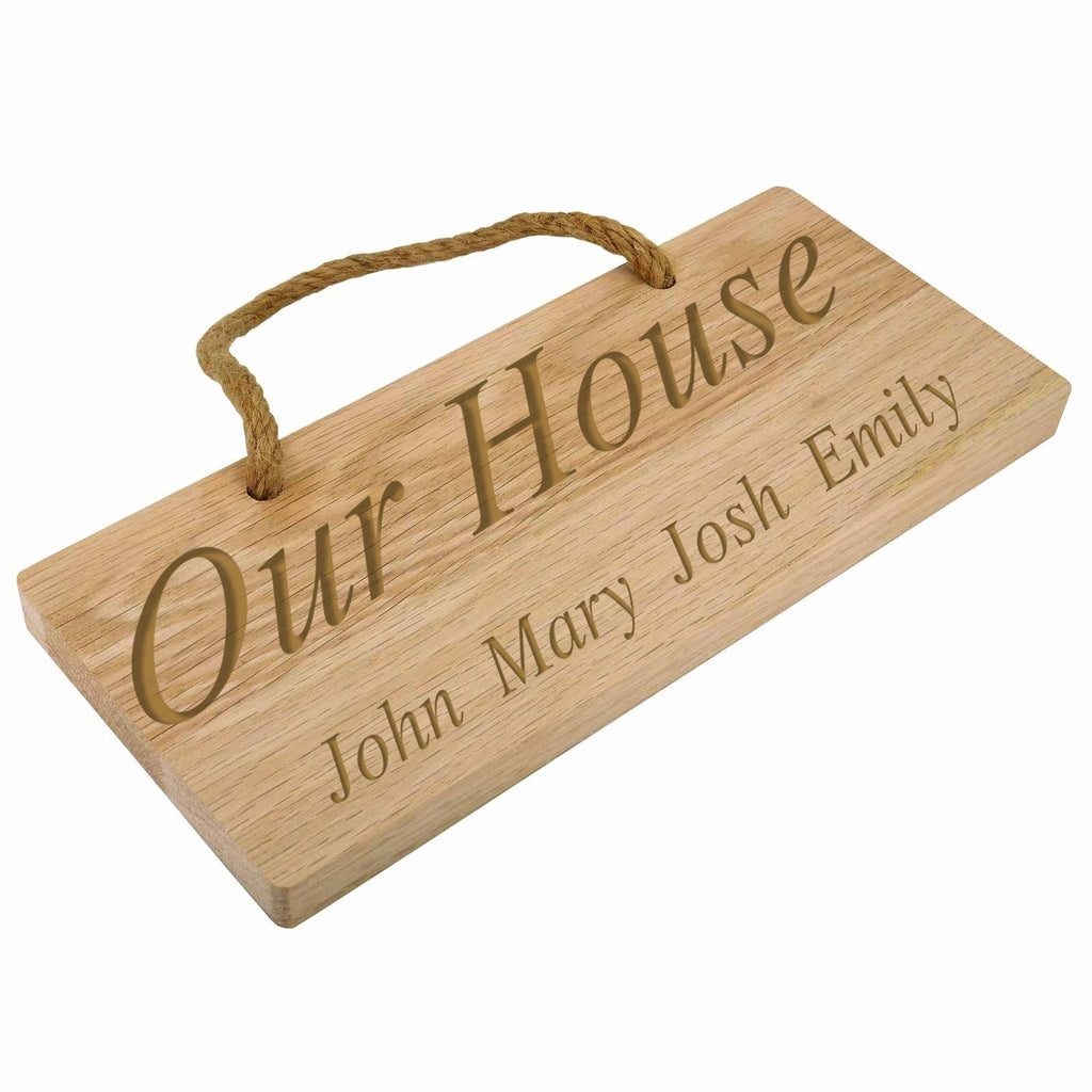 Engraved Personalised Deluxe Solid Oak Rectangular Plaque/Sign with Double Hessian Rope - Culzean Gifts