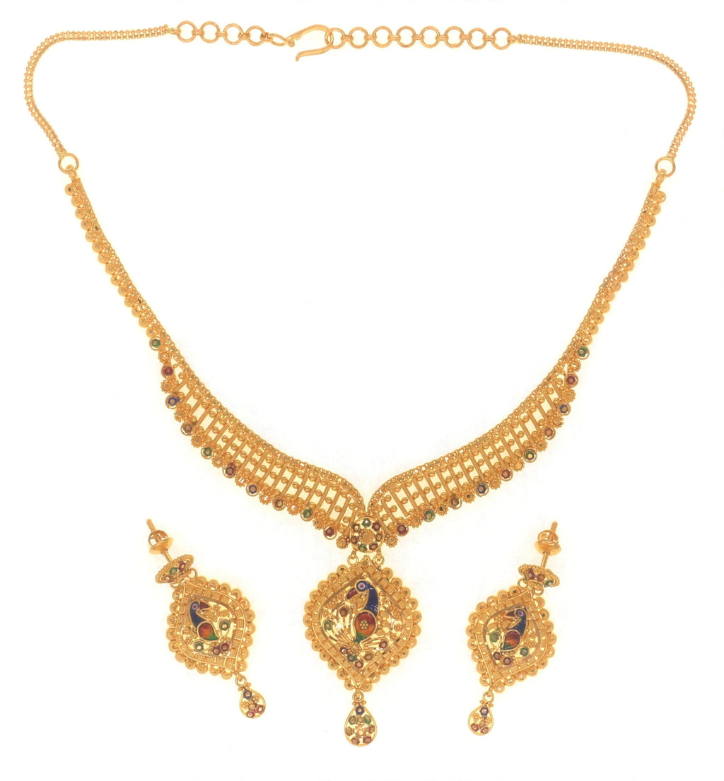 Yellow Gold Peacock Necklace Set