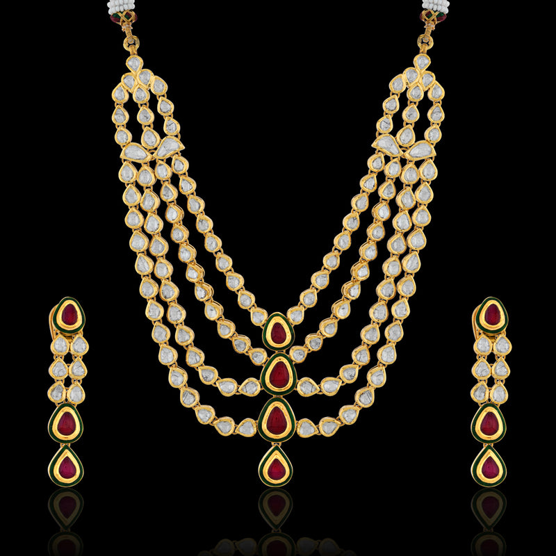 RUBY AND POLKI NECKLACE SET