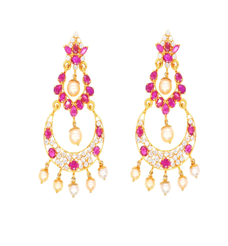 Ruby Chandbali Earrings