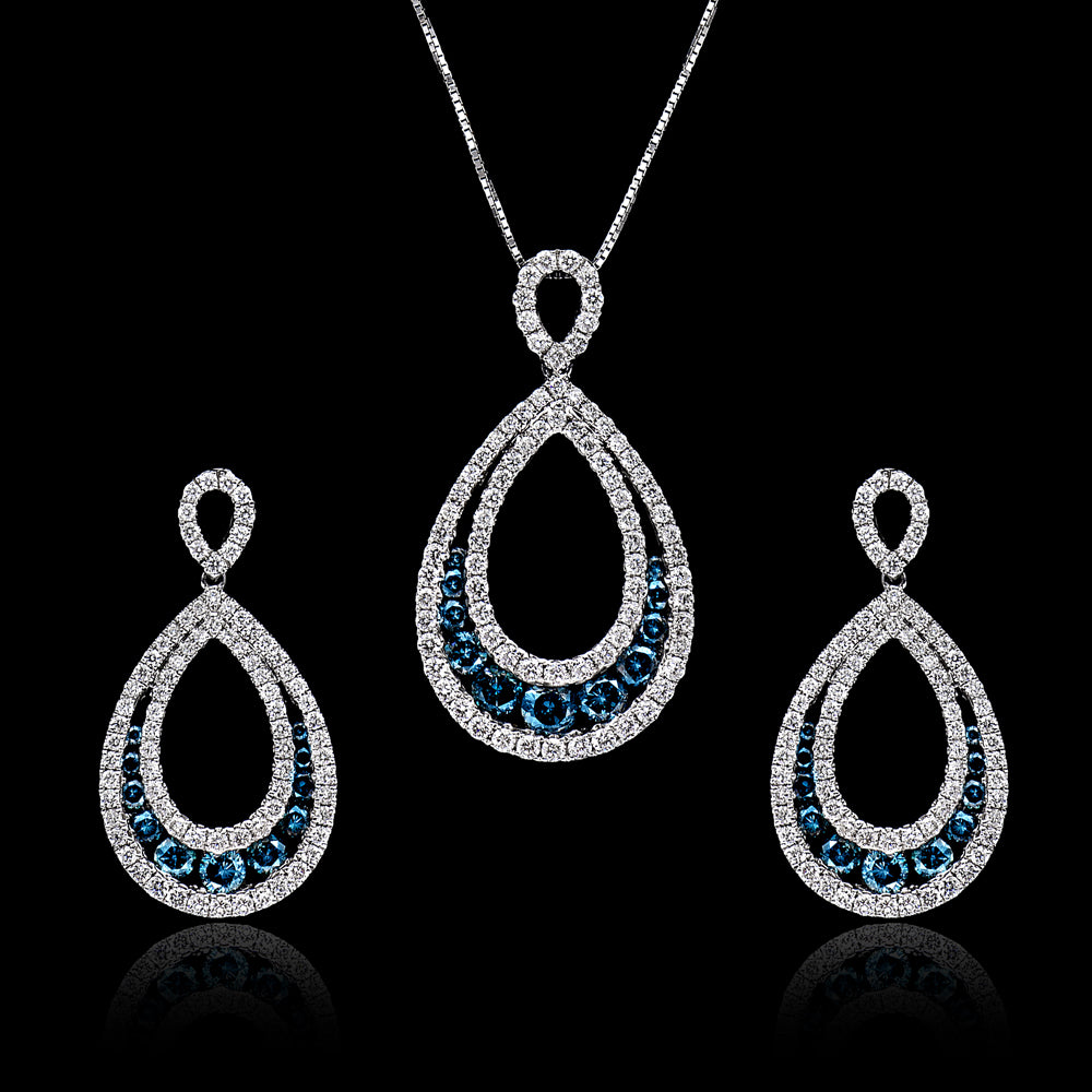 BLUE-DIAMOND PENDANT SET