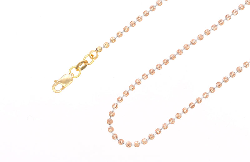 18KT Rose/White Beaded Necklace