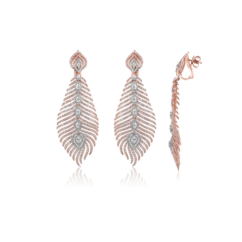 STUNNING FEATHER PINK GOLD EARRINGS
