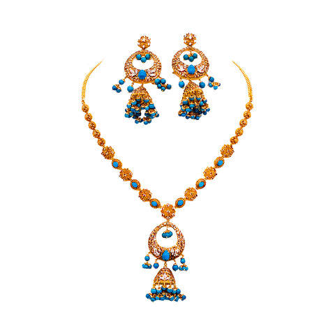 Blue Sapphire and cubic zirconia Necklace Set
