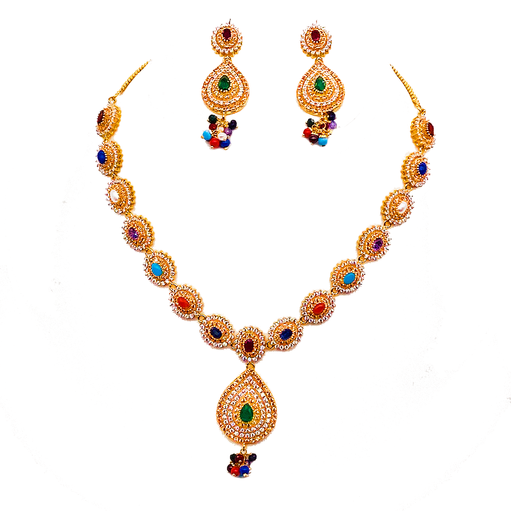 Fashionable Navratan Necklace Set