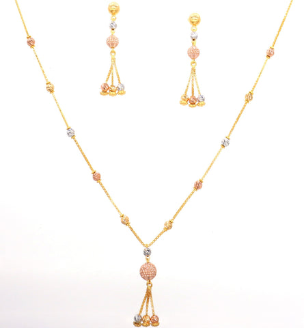Fancy Tri-Color Necklace Set