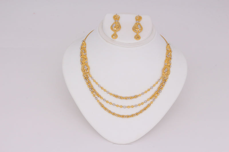 Three-line Necklace Set