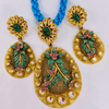Peacock design Gold Pendant Set