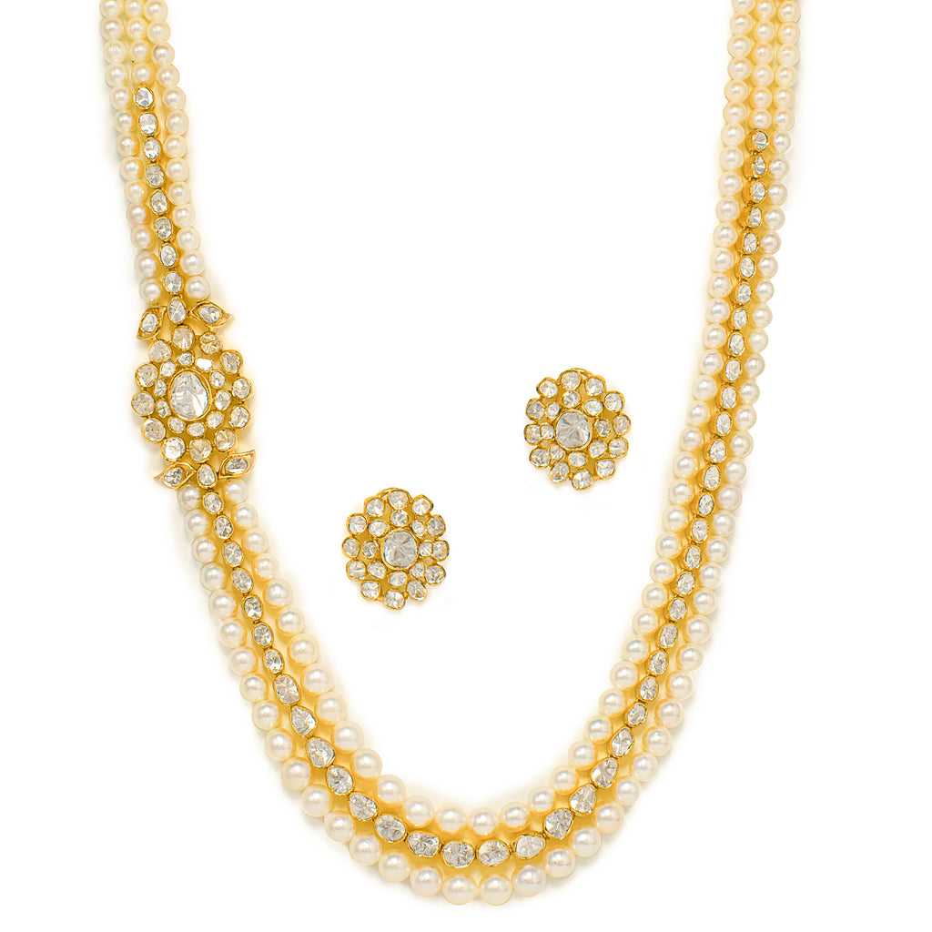 Pearl Polki Necklace Set