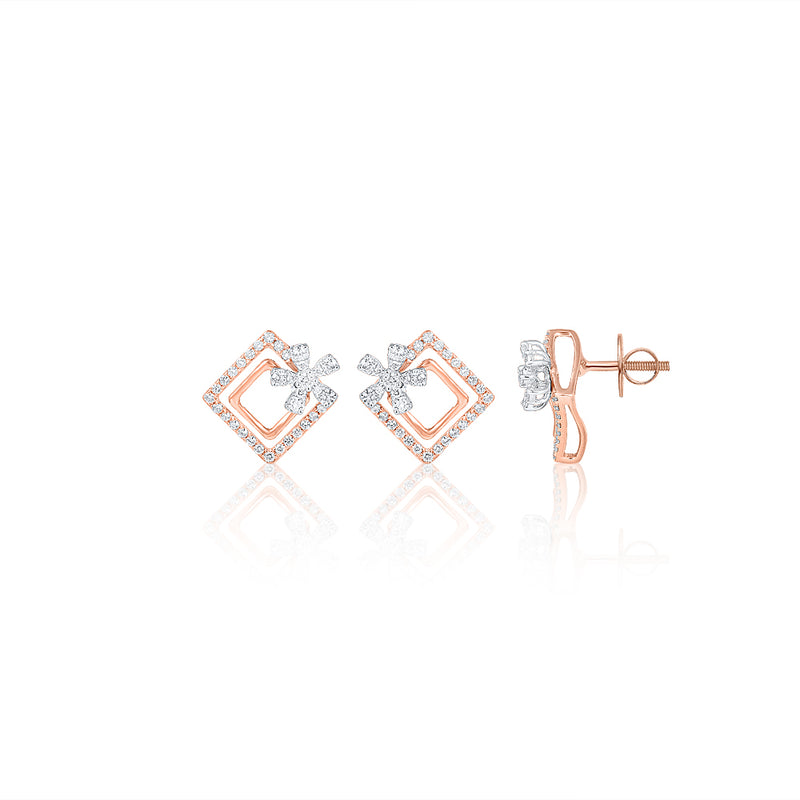 Square Floral Earrings