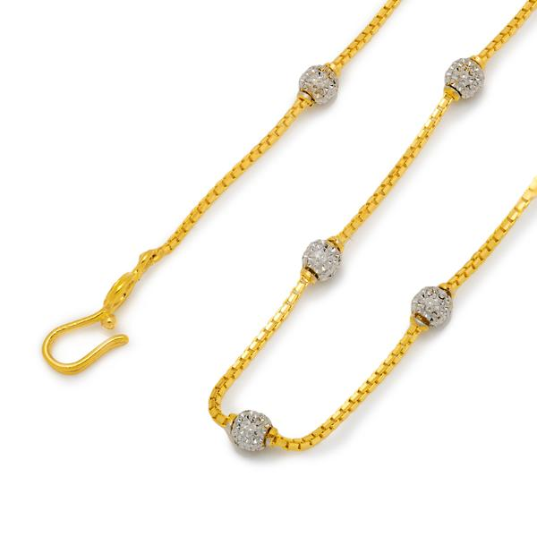Rhodium Beaded Chain 18
