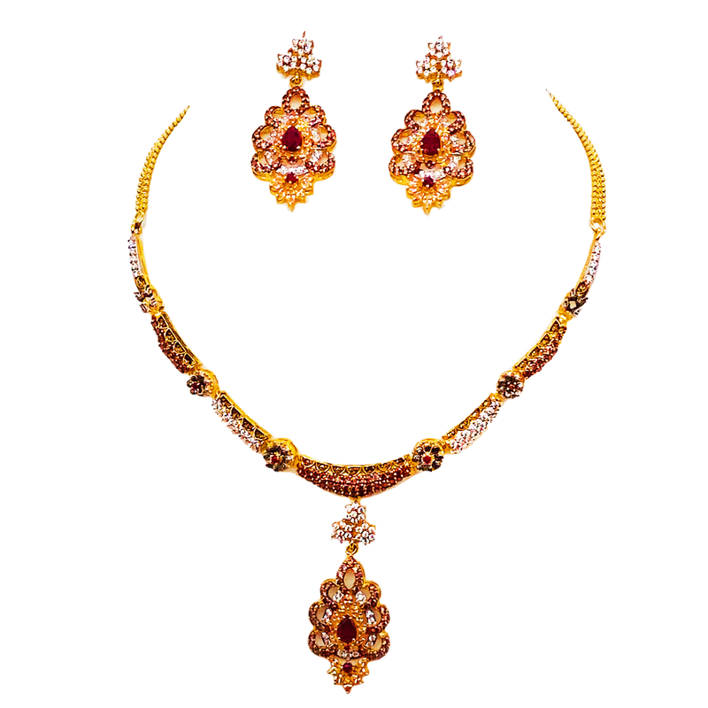 Rubies and cubic zirconia Necklace set
