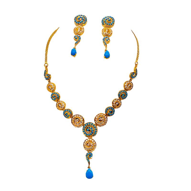Turquoise and cubic zirconia Necklace set