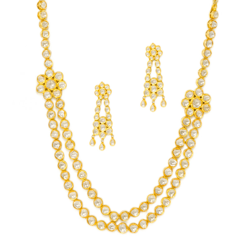 Two Line Polki Necklace Set