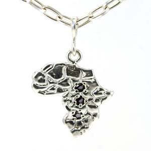 Sterling silver Africa continent pendant necklace with three embeded gemstones