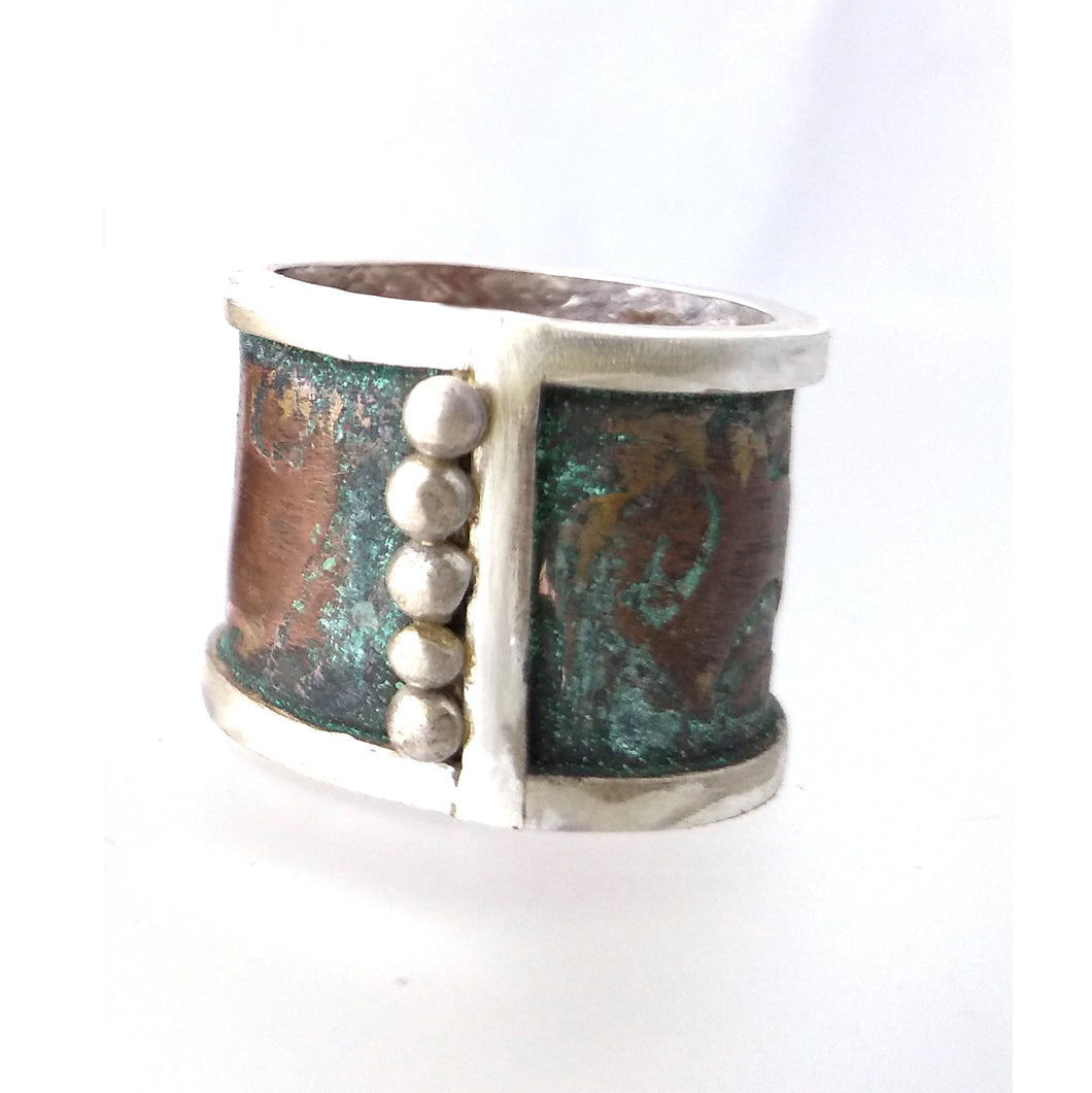 Midline- Silver and copper wide  band ring