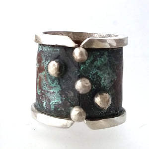 5 Dots Sterling Silver and Copper Cigar Band Rings